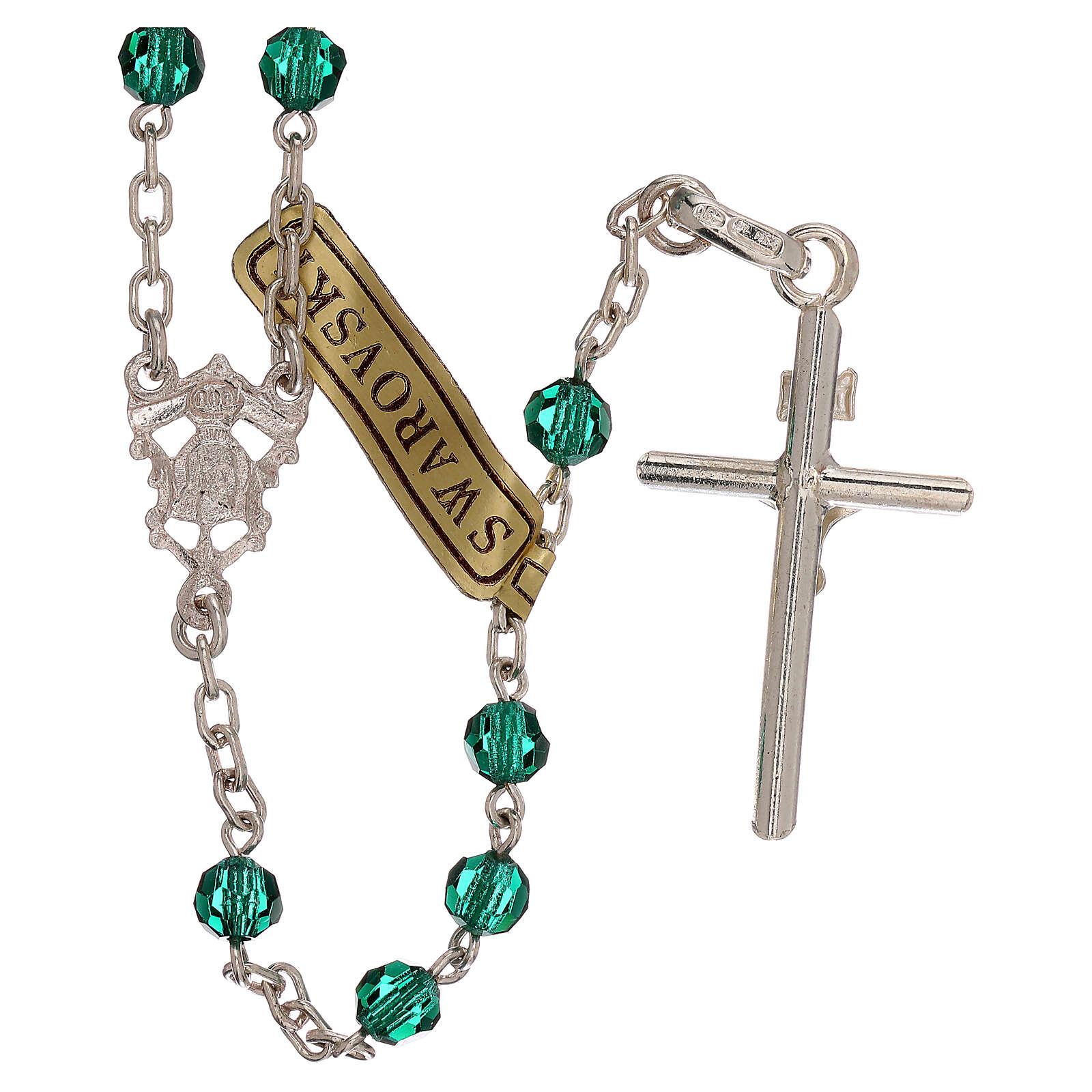 Rosario con catena in argento e grani in Swarovski verdi 4 mm 4