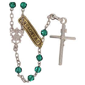 Rosario con catena in argento e grani in Swarovski verdi 4 mm s2