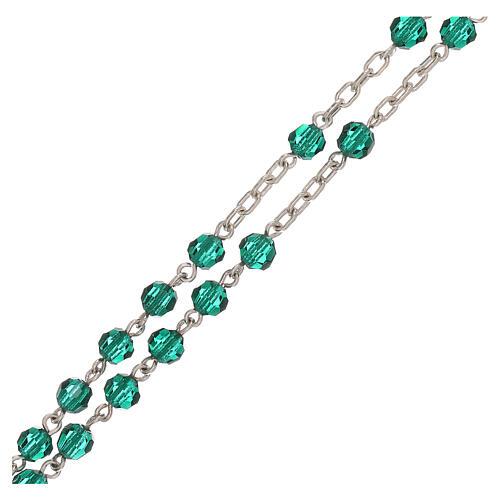 Rosario con catena in argento e grani in Swarovski verdi 4 mm 3