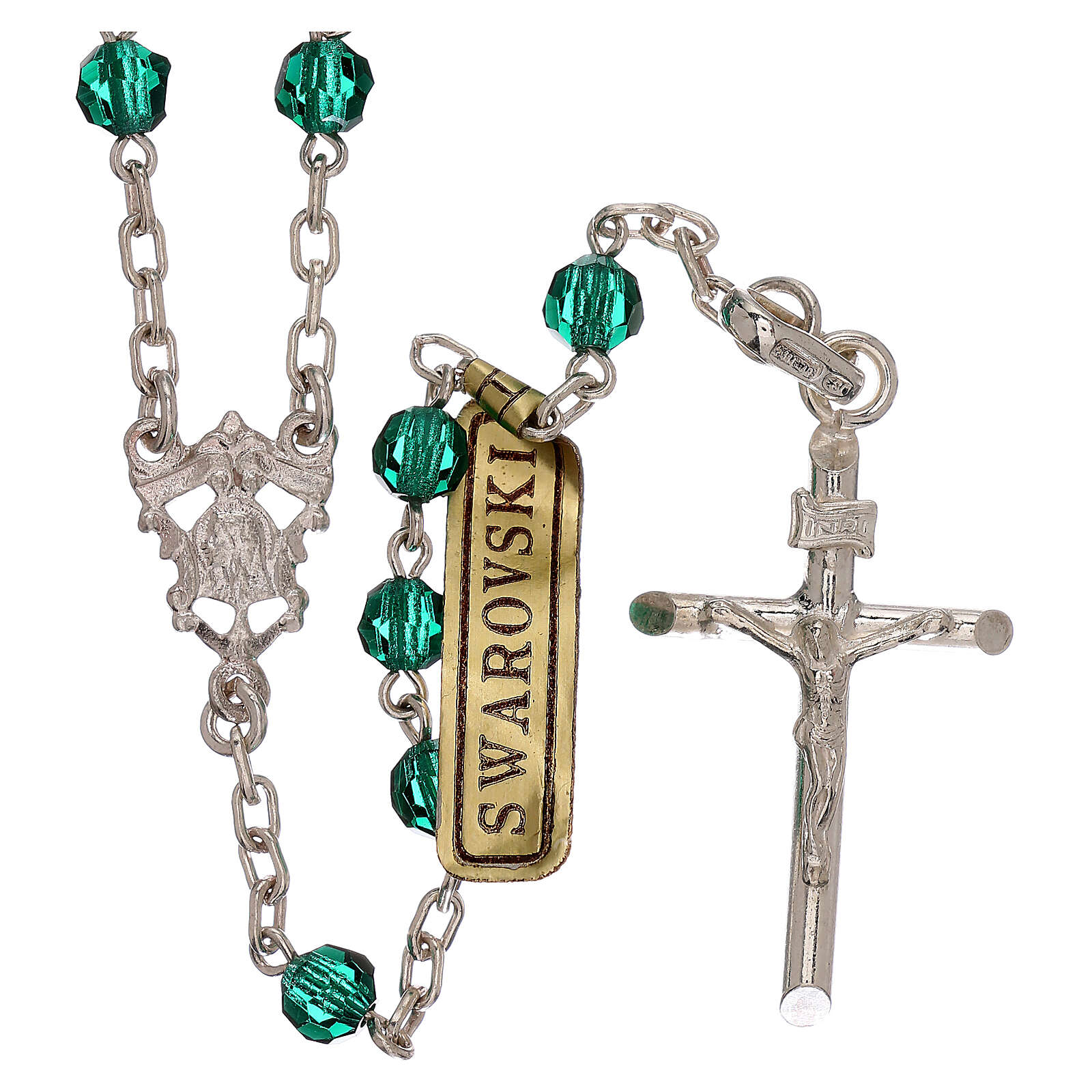 Rosary with silver chain and green Swarovski beads 4 mm 4