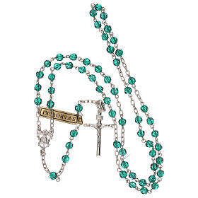 Rosary with silver chain and green Swarovski beads 4 mm s4