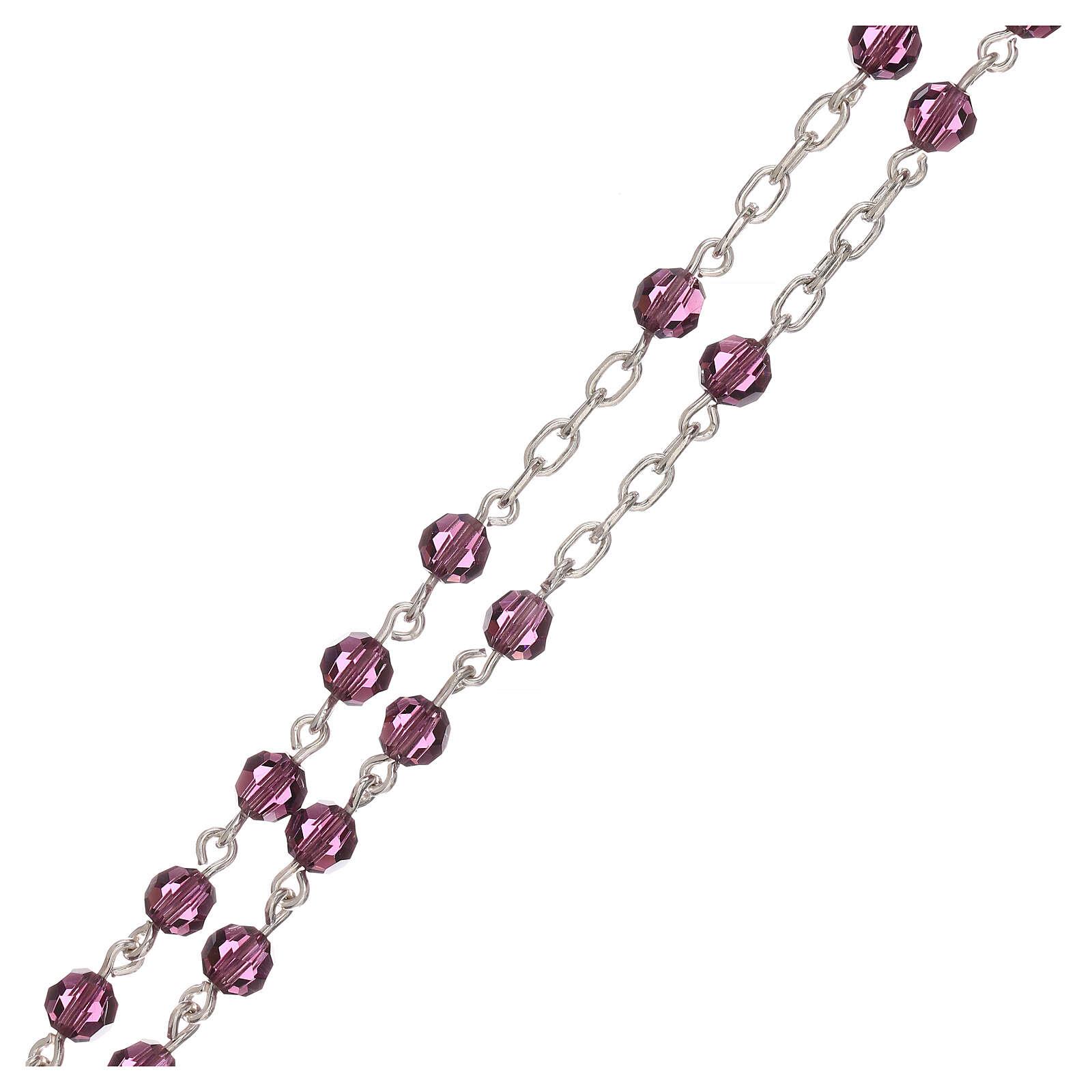 Rosario con cadena de plata y granos de Swarovski violeta 4 mm 4