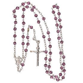 Rosario con cadena de plata y granos de Swarovski violeta 4 mm s4