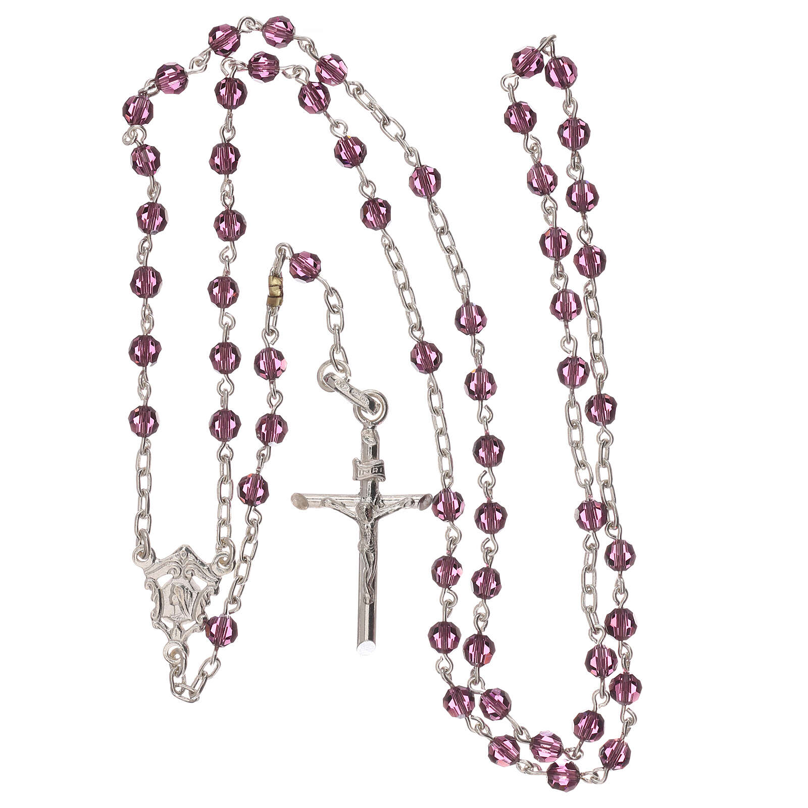 Rosary with silver chain and violet Swarovski beads 4 mm 4