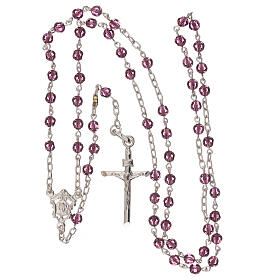 Rosary with silver chain and violet Swarovski beads 4 mm s4