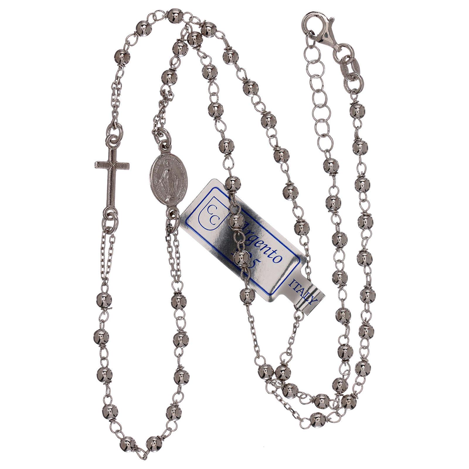 Collar rosario plata 925 granos 1 mm 4