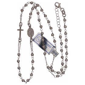 Collar rosario plata 925 granos 1 mm s3