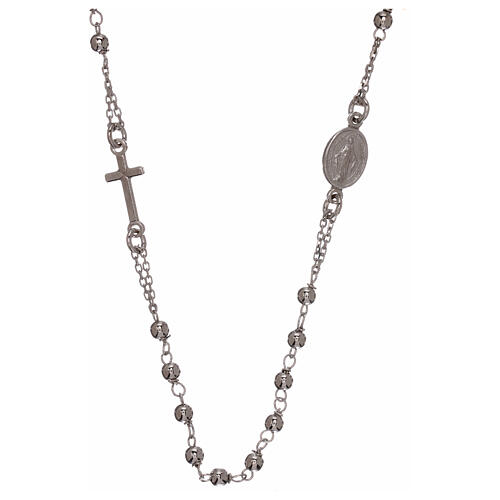 Collar rosario plata 925 granos 1 mm 1