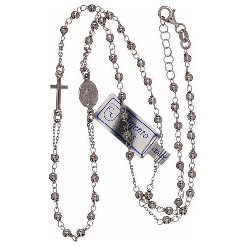 Collar rosario plata 925 granos 1 mm 3