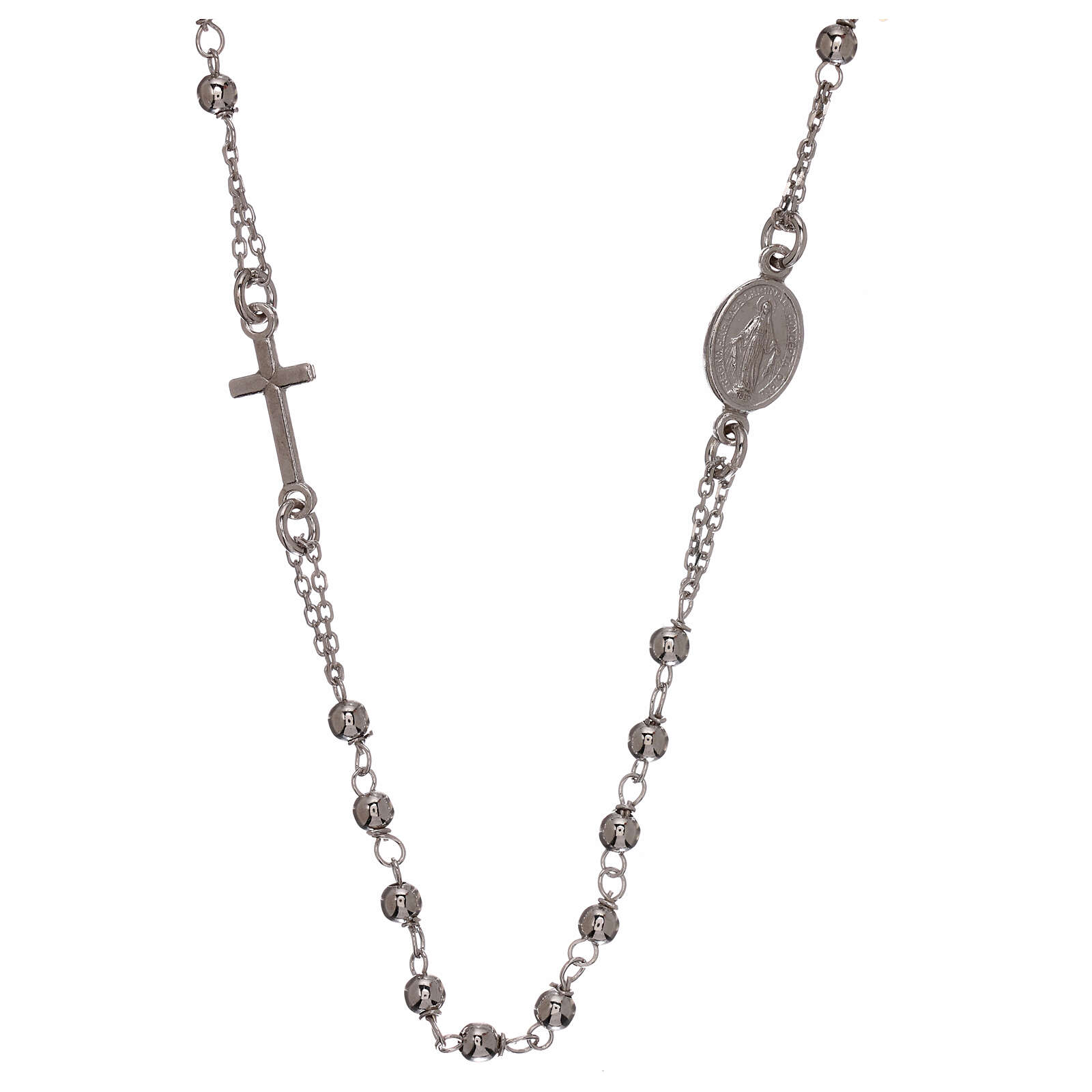 Rosary necklace 925 silver beads 1 mm 4
