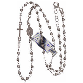 Rosary necklace 925 silver beads 1 mm s3