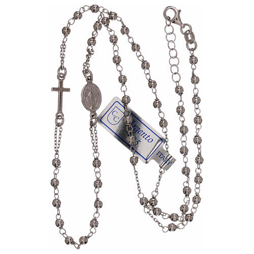 Rosary necklace 925 silver beads 1 mm 3