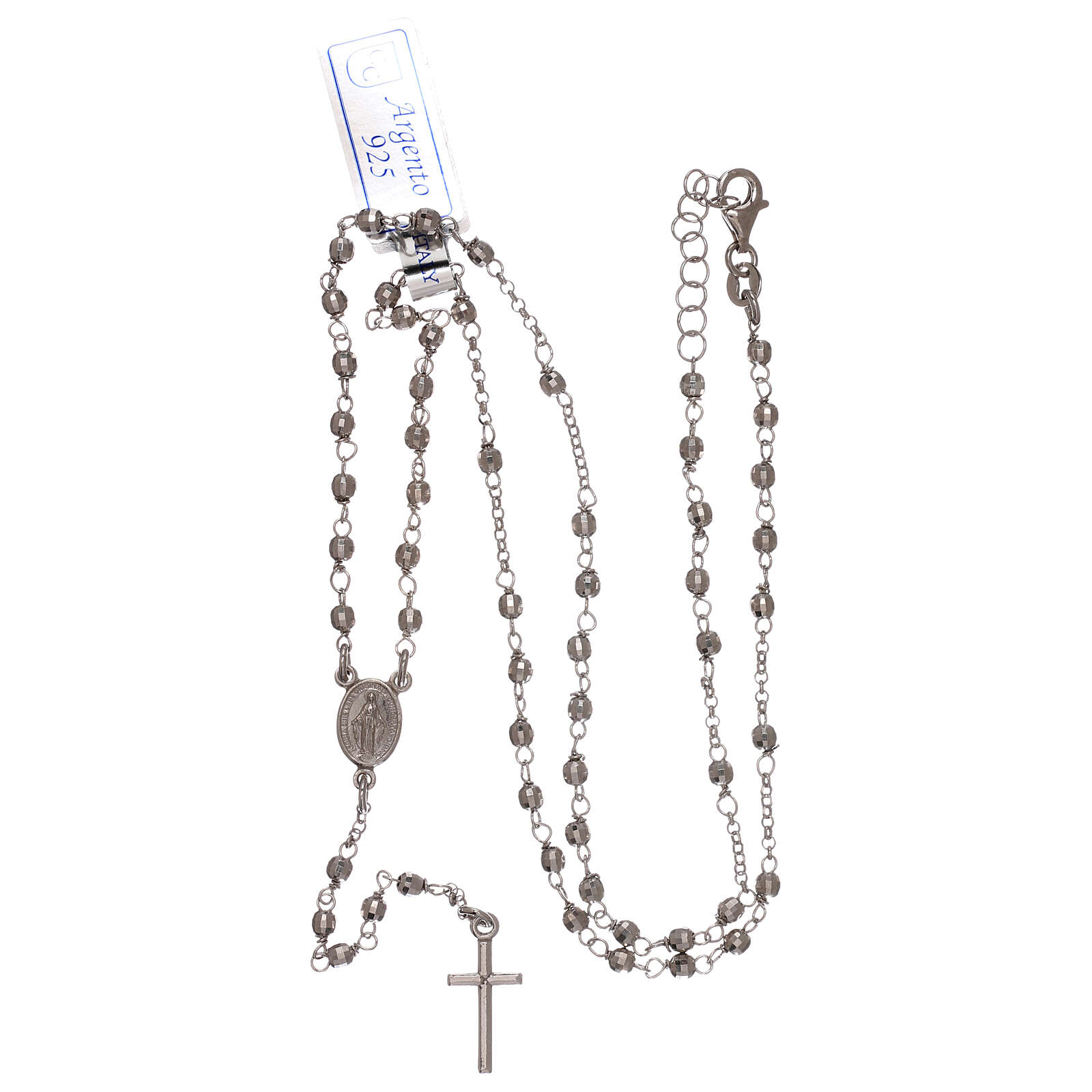 Rosary necklace 925 silver faceted beads 1 mm 4