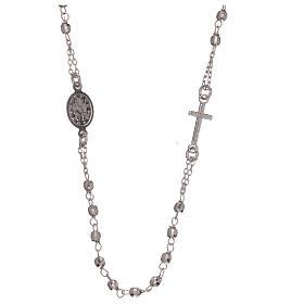 Collana rosario argento 925 Madonna Miracolosa grani 1 mm