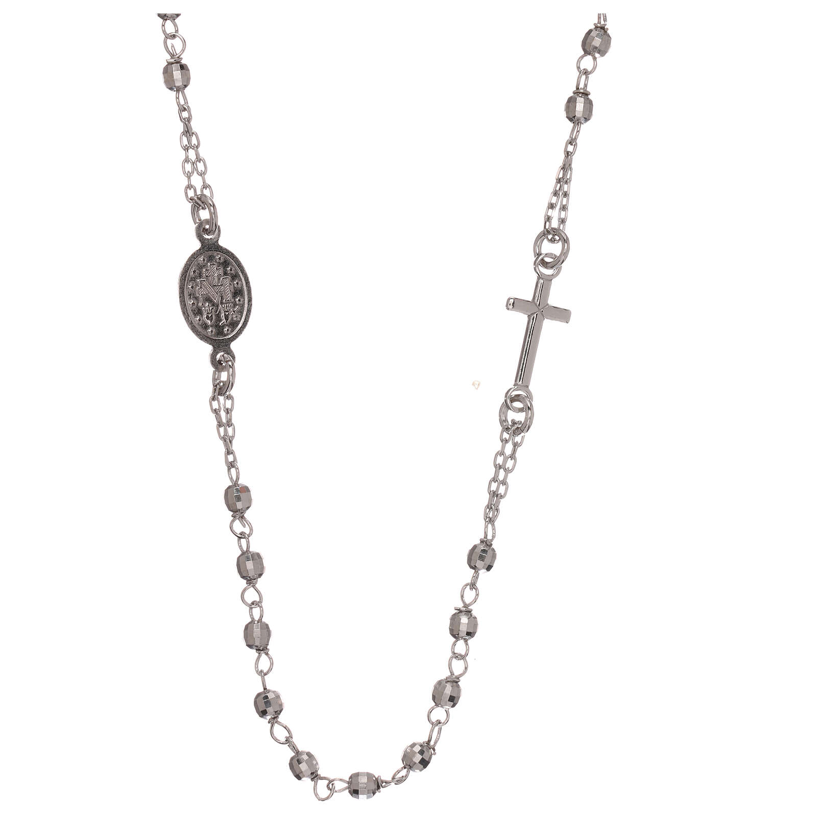 Rosary necklace 925 silver Miraculous Medal beads 1 mm 4