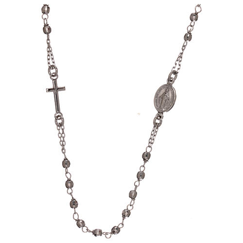 Rosary necklace 925 silver Miraculous Medal beads 1 mm 1