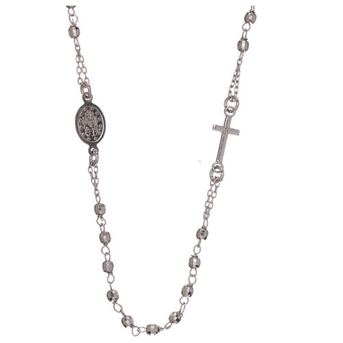 Rosary necklace 925 silver Miraculous Medal beads 1 mm 2