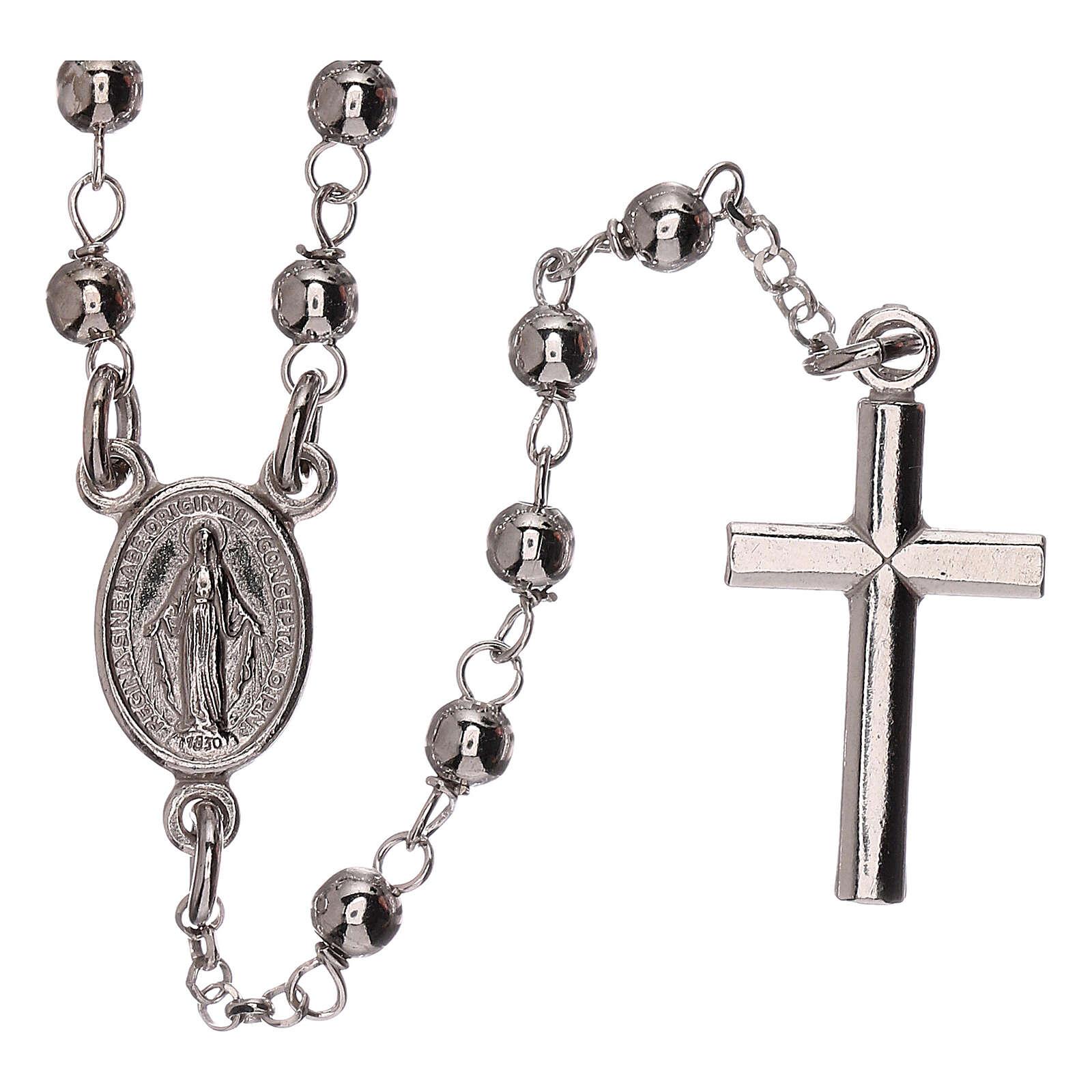 Collar rosario plata 925 Virgen Milagrosa y cruz granos 1 mm 4