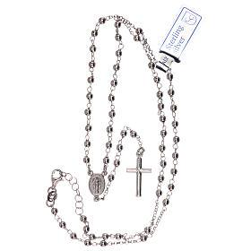 Collar rosario plata 925 Virgen Milagrosa y cruz granos 1 mm s4