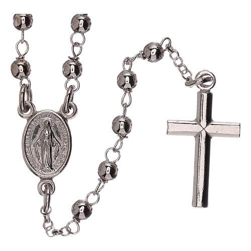 Collar rosario plata 925 Virgen Milagrosa y cruz granos 1 mm 1
