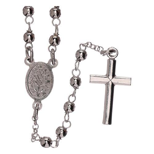 Collar rosario plata 925 Virgen Milagrosa y cruz granos 1 mm 2
