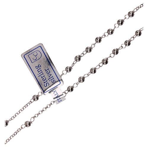 Collar rosario plata 925 Virgen Milagrosa y cruz granos 1 mm 3