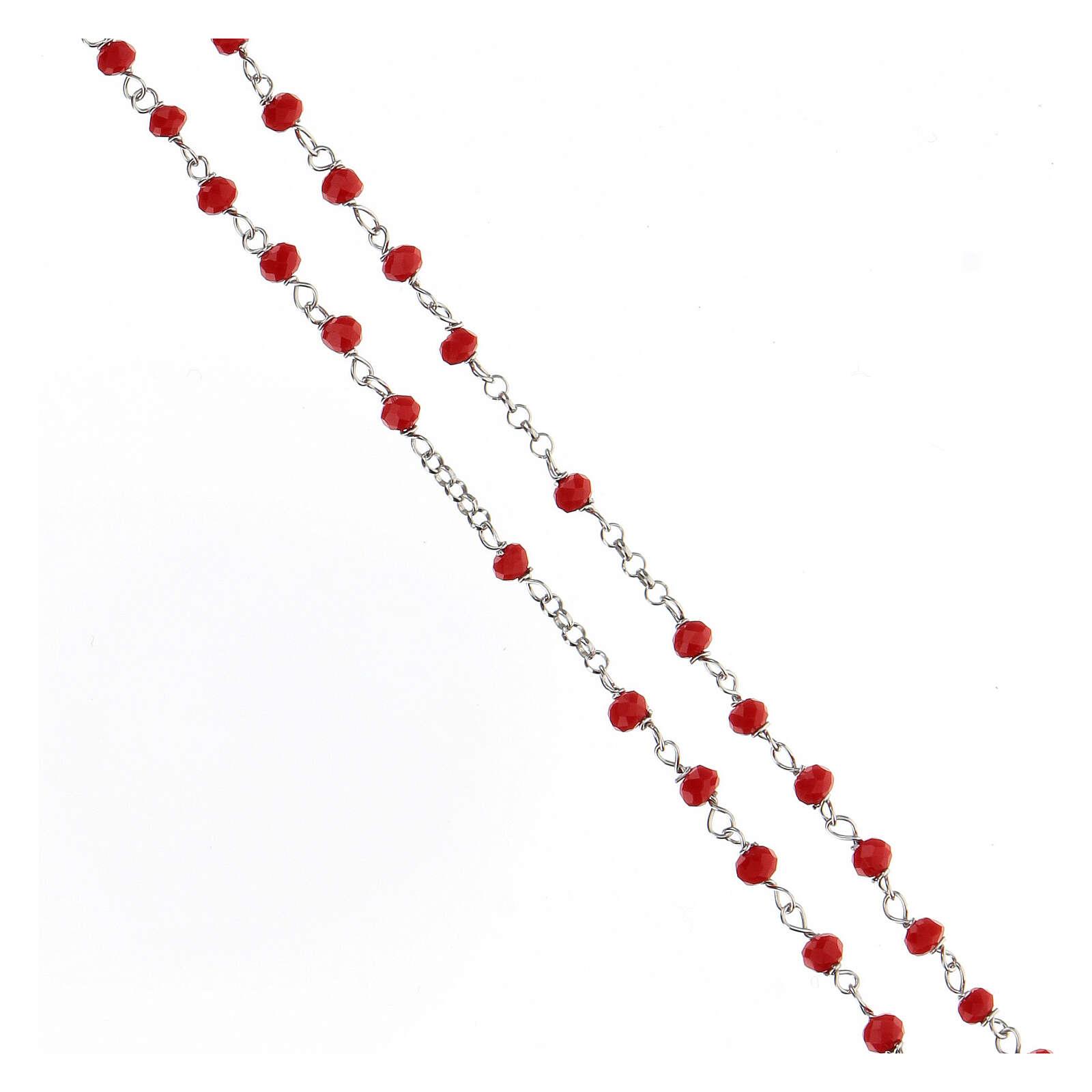 Rosario argento 925 pietre rosse crociera cuore 4