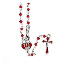 Rosario argento 925 pietre rosse crociera cuore s1