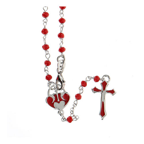 Rosario argento 925 pietre rosse crociera cuore 1