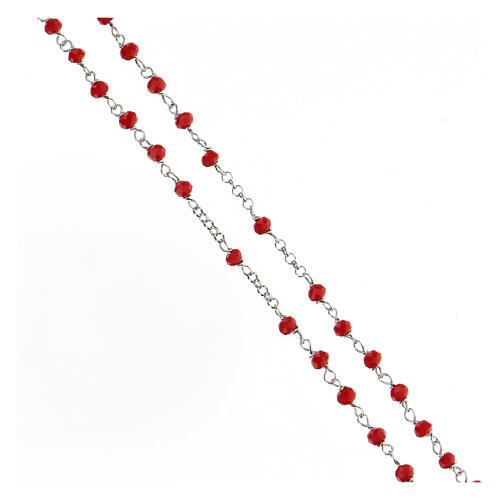 Rosario argento 925 pietre rosse crociera cuore 3