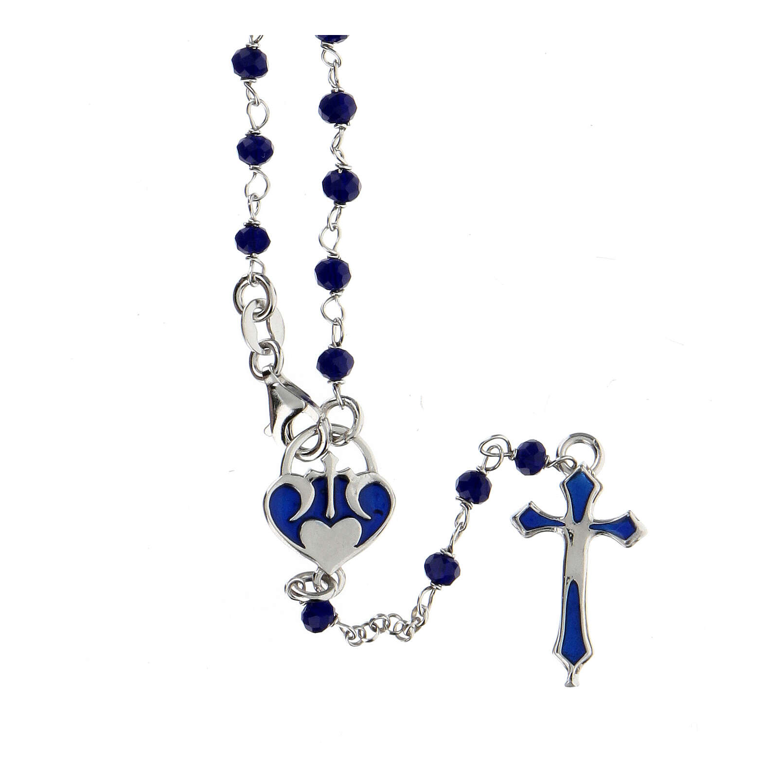 Rosario granos azules plata 925 cruce corazón 4