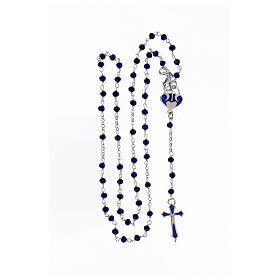 Rosario grani blu argento 925 crociera cuore s4