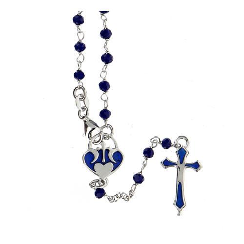 Rosario grani blu argento 925 crociera cuore 1
