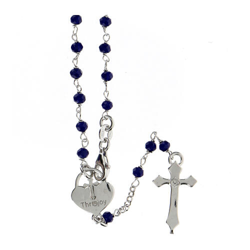 Rosario grani blu argento 925 crociera cuore 2