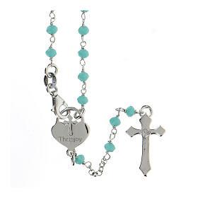Rosario grani turchese argento 925 crociera cuore croce s2