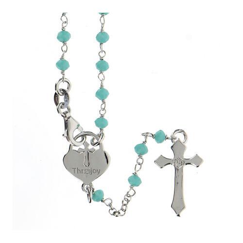 Rosario grani turchese argento 925 crociera cuore croce 2