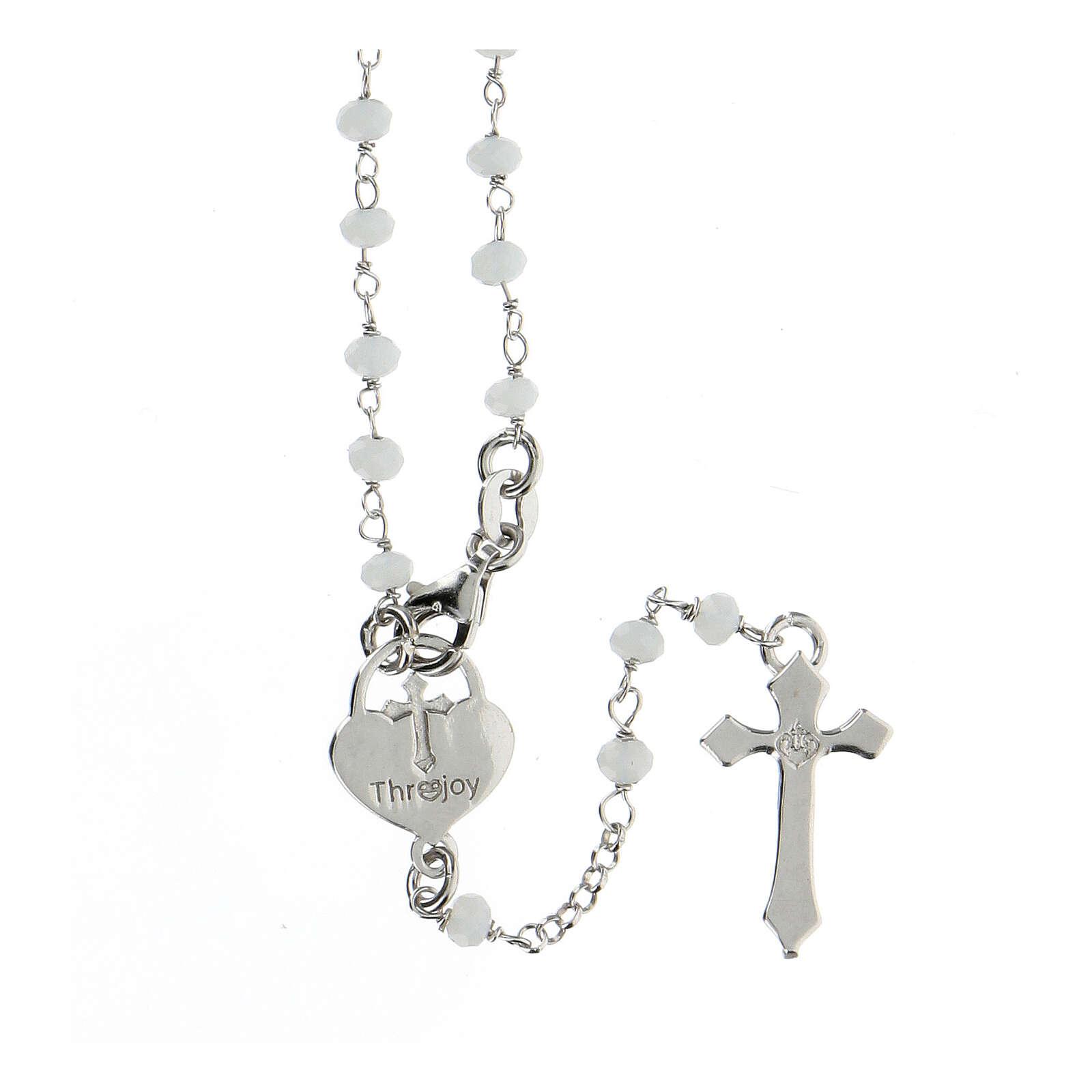 Rosario piedras blancas plata 925 cruce corazón cruz 4