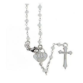 Rosario piedras blancas plata 925 cruce corazón cruz s1