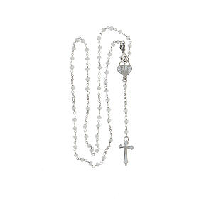 Rosario piedras blancas plata 925 cruce corazón cruz s4