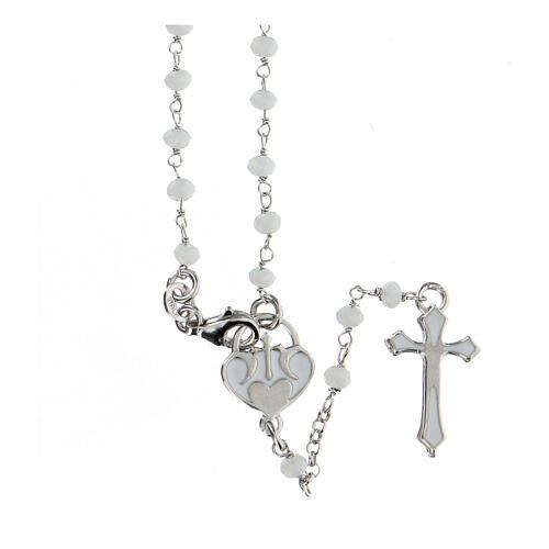 Rosario piedras blancas plata 925 cruce corazón cruz 1
