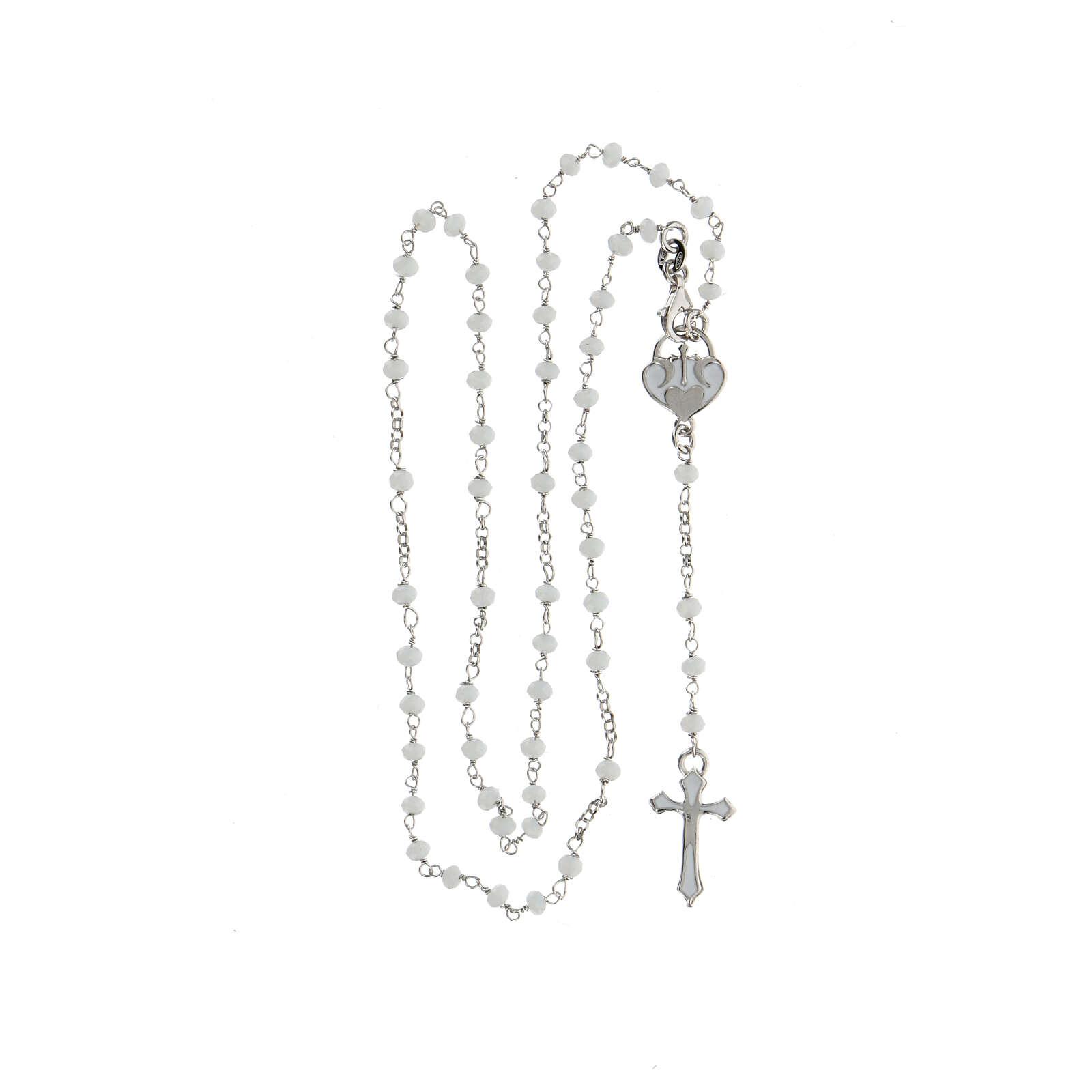 Rosario pietre bianche argento 925 crociera cuore croce 4
