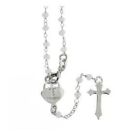 Rosario pietre bianche argento 925 crociera cuore croce s2