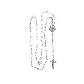 Rosario pietre bianche argento 925 crociera cuore croce s4