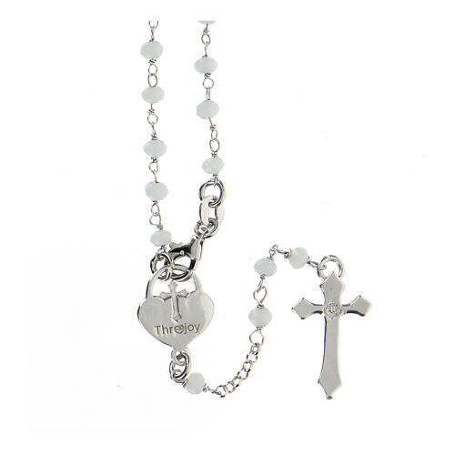 Rosario pietre bianche argento 925 crociera cuore croce 2