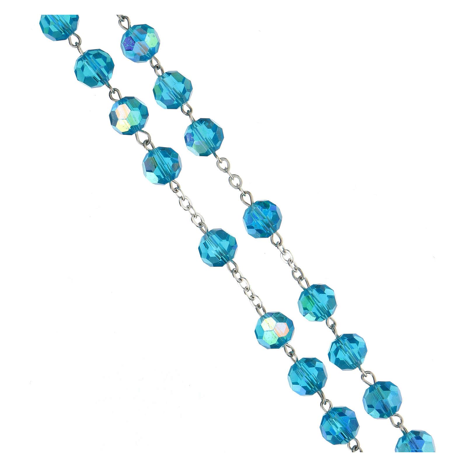 Rosario de plata lúcida 925 granos de cristal azul tallado 8 mm 4