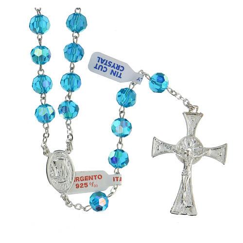 Rosario in argento lucido 925 grani in cristallo blu faccettato 8 mm 1