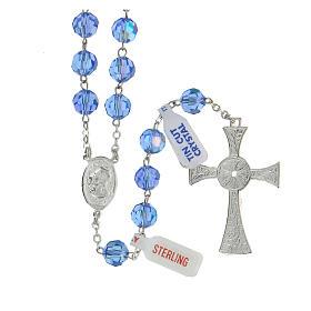 Rosario argento lucido 925 e grani in cristallo azzurro 8 mm s2