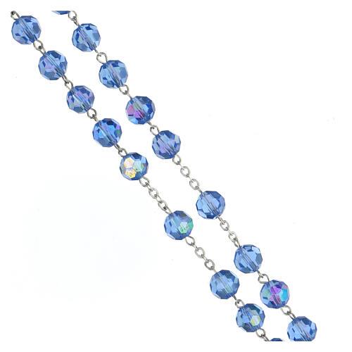 Rosario argento lucido 925 e grani in cristallo azzurro 8 mm 3