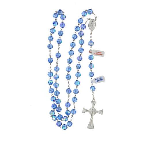 Rosario argento lucido 925 e grani in cristallo azzurro 8 mm 4