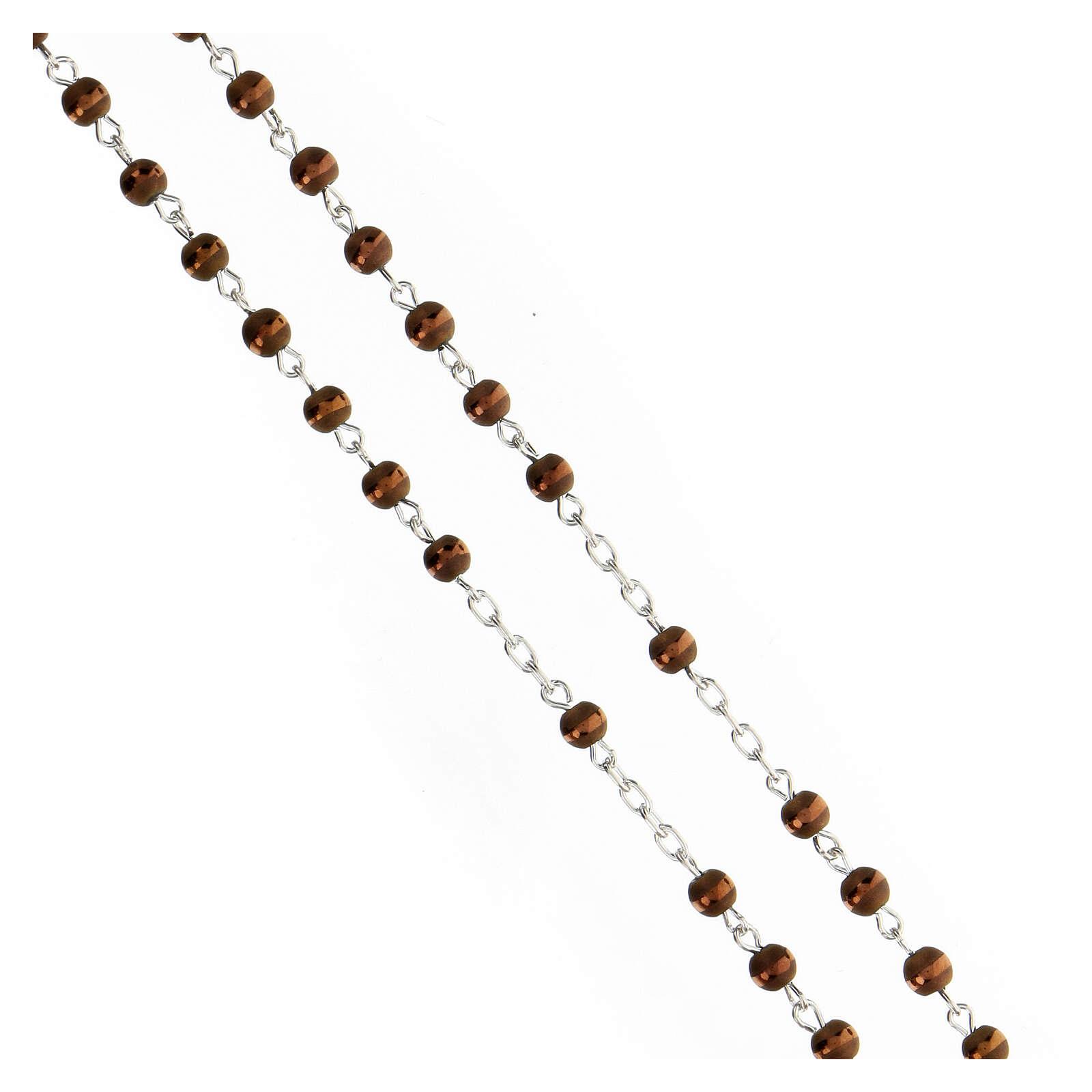 Rosario argento 925 grani ematite marrone 4 mm opaco riga lucida 4